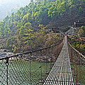 Suspension Bridge Over The Seti River In Nepal by Ruth Hager