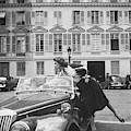 Suzy Parker Outside The French Vogue Office by Jacques Boucher