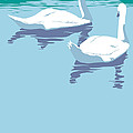 Abstract Swans Bird Lake Pop Art Nouveau Retro 80s 1980s Landscape Stylized Large Painting  by Walt Curlee