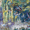 Swans Family . Forest Of Boulogne  by Henri-Edmond Cross