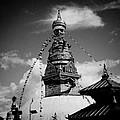 Swayambhunath Temple Black And White by Raimond Klavins