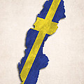 Sweden Map Art With Flag Design by World Art Prints And Designs