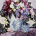 Sweet Peas In A Blue And White Jug With Blue And White Pot And Textiles  by Joan Thewsey