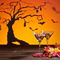 Sweets In Halloween Setting With Tree by U Schade