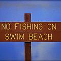 Swim Beach Sign II by Kathy Sampson