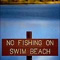 Swim Beach Sign by Kathy Sampson