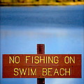Swim Beach Sign L by Kathy Sampson