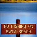 Swim Beach Sign L by Kathy Sampson