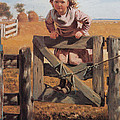 Swinging On A Gate by John Brown