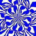 Swirling Blue Zebra Kaleidoscope  by Saundra Myles