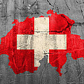 Switzerland Flag Country Outline Painted On Old Cracked Cement by Design Turnpike