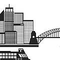 Sydney Australia Skyline Black And White Illustration by Jit Lim