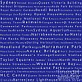 Sydney In Words Blue by Sabine Jacobs