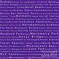 Sydney In Words Purple by Sabine Jacobs