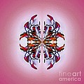Symmetrical Orchid Art - Reds by Kaye Menner