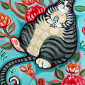 Tabby Cat On A Cushion by Rebecca Korpita
