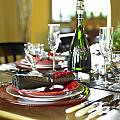 Table Setting With Red And White by Works Photography