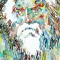 Tagore Watercolor Portrait by Fabrizio Cassetta
