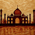 Taj Mahal Lovers Dream Original Coffee Painting by Georgeta  Blanaru