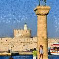 Taking Pictures At The Entrance Of Mandraki Port by George Atsametakis