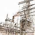 Tall Ship Assist Sepia by James Williamson