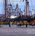 Tall Ship At Albert Dock by Joan-Violet Stretch