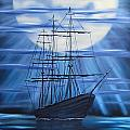 Tall Ship By Moonlight by Alfred Knoll