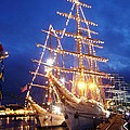 Tall Ships At Night Time by Joe Cashin