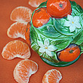 Tangerine Slices And Ceramics by Luv Photography