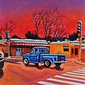 Taos Blue Truck At Dusk by Art West