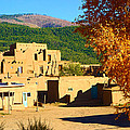 Taos Pueblo South In Autumn by Robert Meyers-Lussier