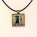 Tardis Faux Artifact Miniature Painting On Papyrus Mounted In Pendant by Pet Serrano