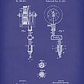 Tattoo Machine 1891 Patent Art Blue by Prior Art Design