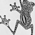Tattooed Tree Frog - Zentangle by Jani Freimann