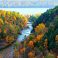 Taughannock River Canyon In Colorful Autumn Ithaca New York Panoramic Photography  by Paul Ge