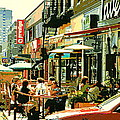 Tavern In The Village Urban Cafe Scene - A Cool Terrace Oasis On A Busy Hot Montreal City Street by Carole Spandau