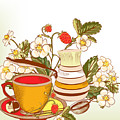 Tea Or Coffee Vector Background With by Mashakotcur