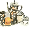 Tea Service With Orange Dramatic by Kip DeVore