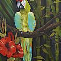 Teal Chartreuse Parrot by Kathy Przepadlo