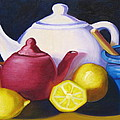 Teapots In Primary Colors by Natalie Rotman Cote
