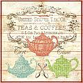 Teas And Coffees Sign by Jean Plout