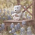 Teddy Bear And Texas Bluebonnets by Renee Hong