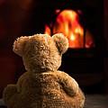 Teddy By The Fire by Amanda Elwell