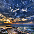 Tel Aviv Sunset At Hilton Beach by Ron Shoshani
