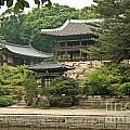 Temple By Lake And Forest Seoul South Korea by Jacek Malipan