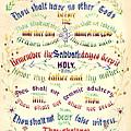 Ten Commandments Calligraphy 1889 by Padre Art
