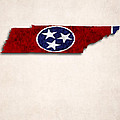 Tennessee Map Art With Flag Design by World Art Prints And Designs