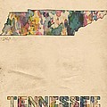 Tennessee Map Vintage Watercolor by Florian Rodarte