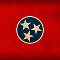 Tennessee State Flag Art On Worn Canvas by Design Turnpike