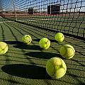 Tennis Balls And Court by Joe Belanger